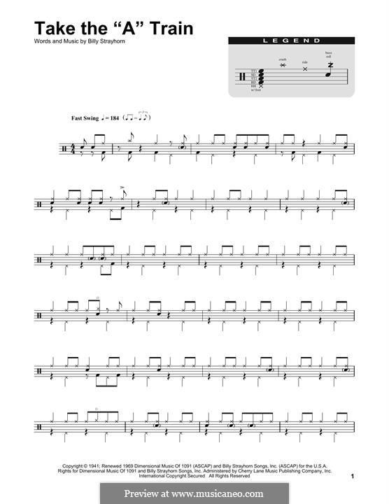 Take the 'A' Train (Duke Ellington): Drum set by Billy Strayhorn