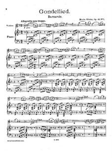 Pieces for Violin and Piano, Op.45: No.1 Barcarole by Moritz Köhler
