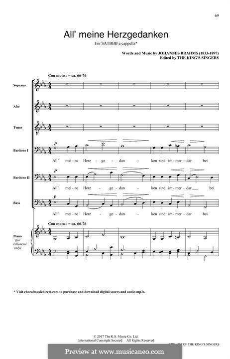 Alle meine Herzgedanken: For mixed choir by Johannes Brahms