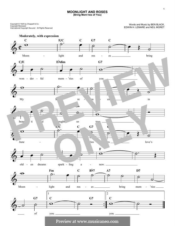 Moonlight and Roses (Bring Mem'ries of You): Melody line by Edwin Lemare, Charles N. Daniels, Neil Moret