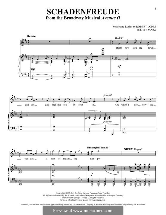 Schadenfreude (Avenue Q): For voice and piano by Jeff Marx, Robert Lopez