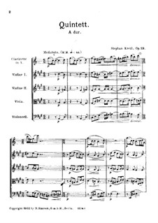 Quintet for Clarinet and Strings, Op.19: Full score by Stephan Krehl