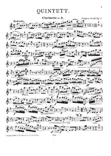 Quintet for Clarinet and Strings, Op.19: Clarinet part by Stephan Krehl