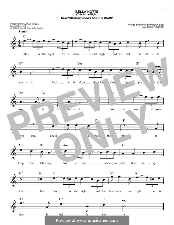 Bella Notte (This is the Night): Melody line by Peggy Lee, Sonny Burke