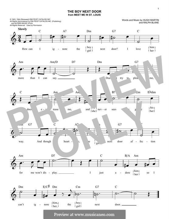The Boy Next Door (Judy Garland): Melody line by Hugh Martin, Ralph Blane