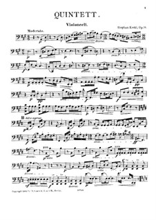 Quintet for Clarinet and Strings, Op.19: Cello part by Stephan Krehl