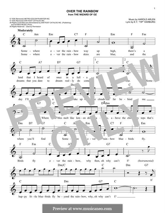 Over the Rainbow (from The Wizard of Oz): Melody line by Harold Arlen
