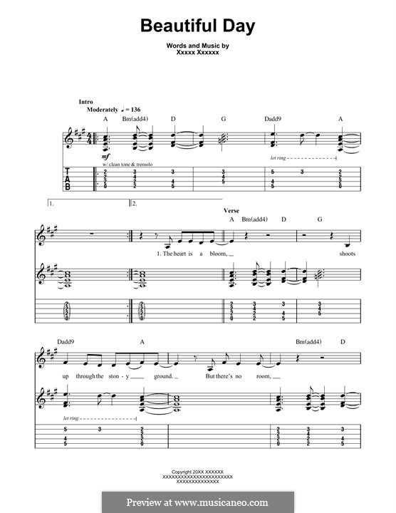 Beautiful Day: For guitar with tab by U2