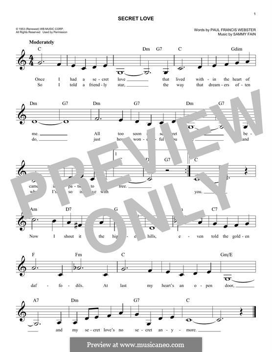Secret Love: Melody line by Sammy Fain
