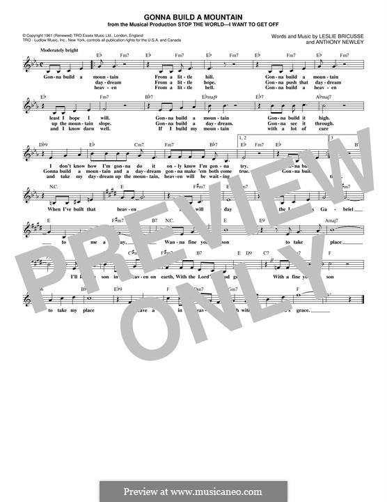 Gonna Build a Mountain: Melody line by Anthony Newley