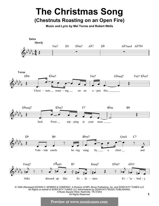 Piano-vocal version: Melody line by Mel Tormé, Robert Wells