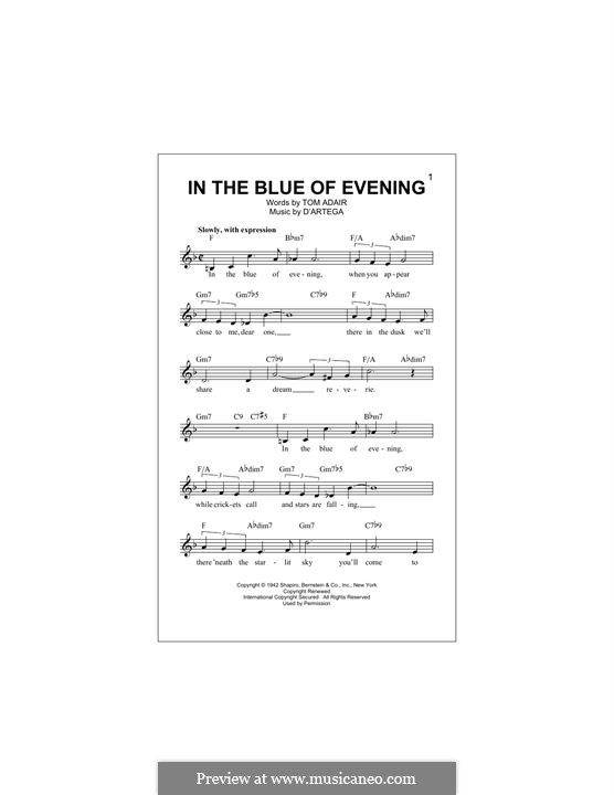 In the Blue of Evening (Frank Sinatra): Melody line by Alfonso D'Artega