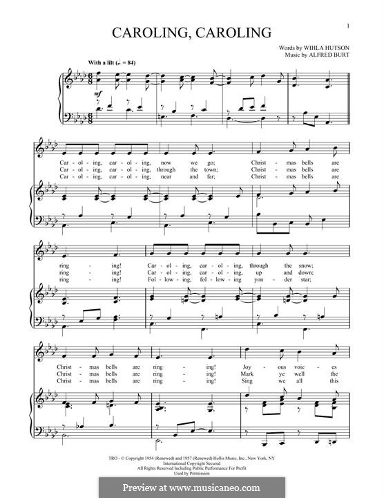 Caroling, Caroling (Nat King Cole): For voice and piano (Wihla Hutson) by Alfred Burt