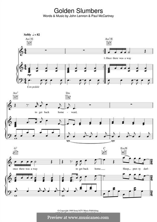 Golden Slumbers (The Beatles): For voice and piano (or guitar) by John Lennon, Paul McCartney