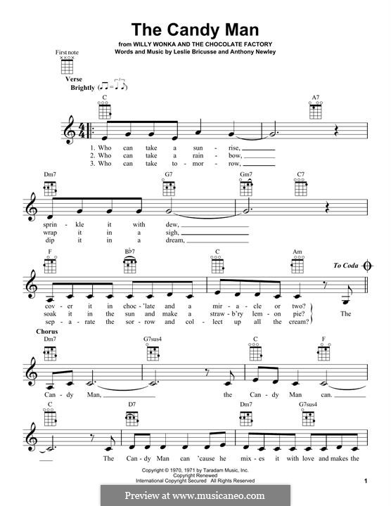The Candy Man (from Willy Wonka and The Chocolate Factory): For ukulele by Anthony Newley