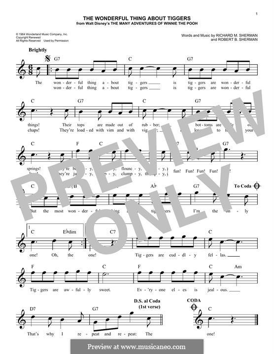 The Wonderful Thing About Tiggers: Melody line by Richard M. Sherman, Robert B. Sherman