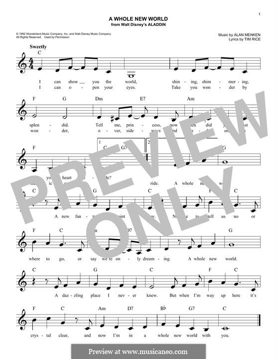 A Whole New World (from Aladdin): Melody line by Alan Menken