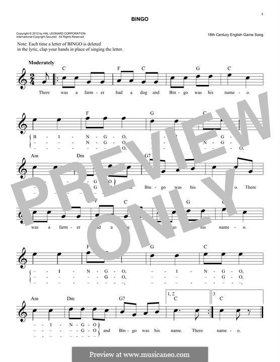 Bingo: Melody line by folklore