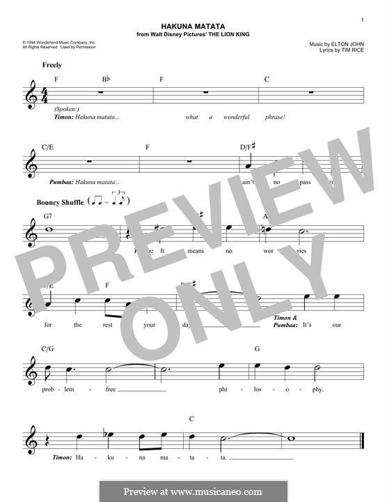 Hakuna Matata (from The Lion King): Melody line by Elton John