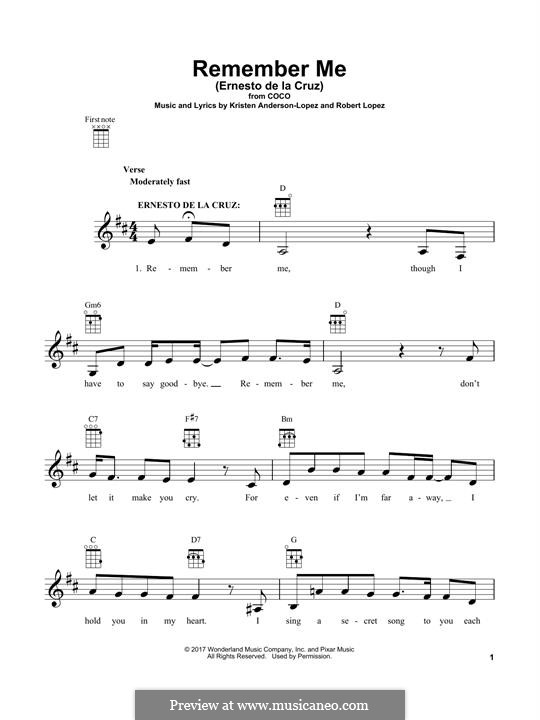 Remember Me (Ernesto de la Cruz) from 'Coco': For ukulele by Robert Lopez, Kristen Anderson-Lopez