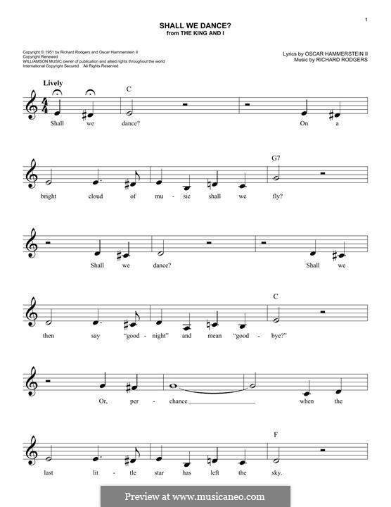 Shall We Dance? (from The King and I): Melody line by Richard Rodgers
