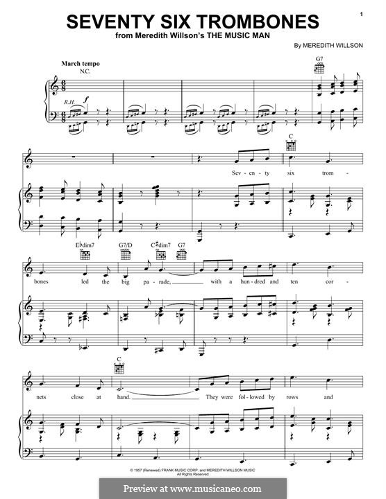 Seventy Six Trombones: For voice and piano (or guitar) by Meredith Willson
