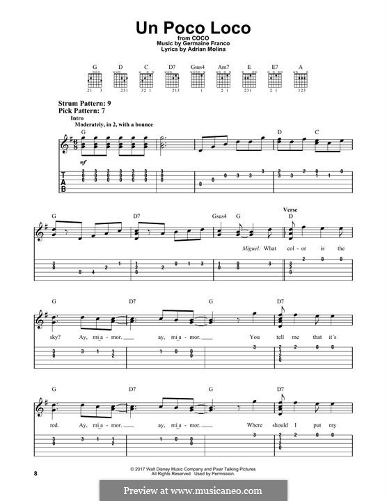 Un Poco Loco (from 'Coco'): For guitar with tab by Germaine Franco