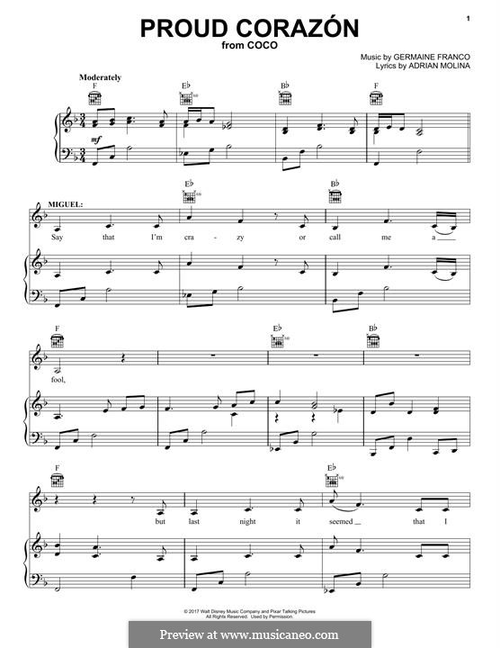 Proud Corazon (from 'Coco'): For voice and piano (or guitar) by Germaine Franco