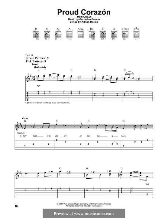 Proud Corazon (from 'Coco'): For guitar with tab by Germaine Franco