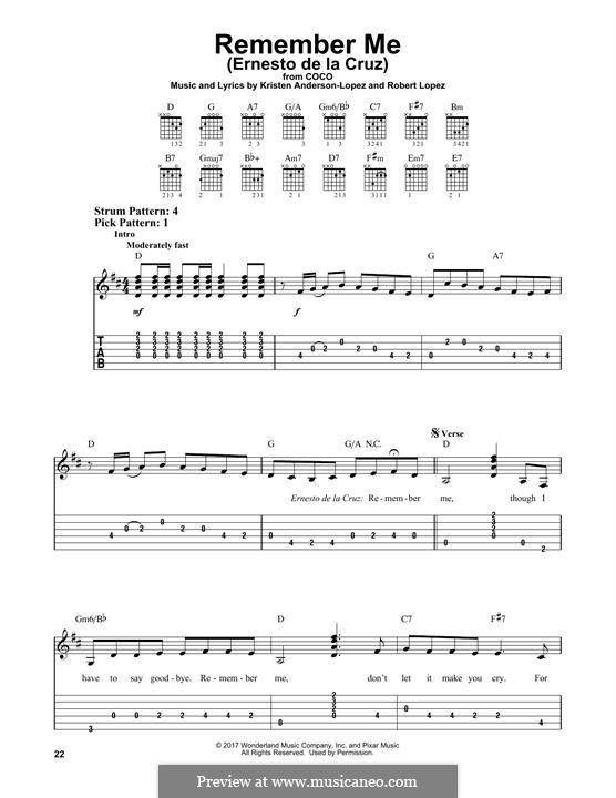 Remember Me (Ernesto de la Cruz) from 'Coco': For guitar with tab by Robert Lopez, Kristen Anderson-Lopez
