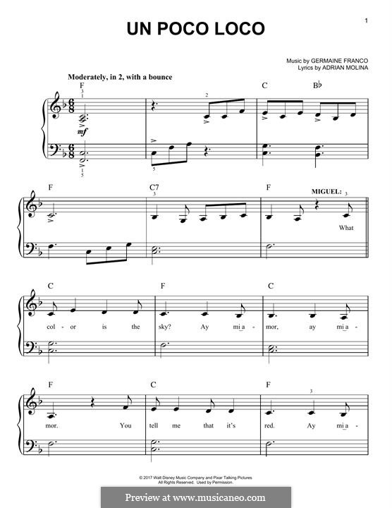 Un Poco Loco (from 'Coco'): For piano by Germaine Franco