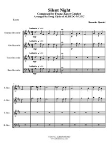 Silent Night (Downloadable): For recorder quartet by Franz Xaver Gruber