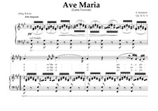Ave Maria (Piano-vocal score), D.839 Op.52 No.6: For Mezzo-Soprano or Tenor (In Latin). Landscape in A Major by Franz Schubert