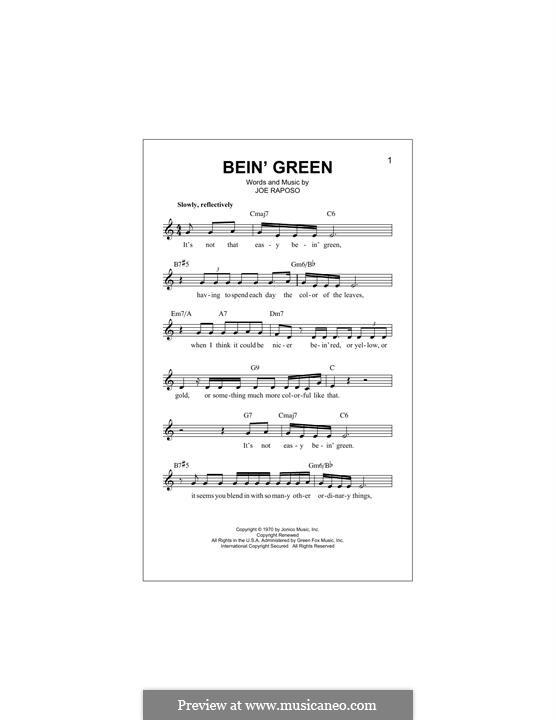 Bein' Green (Kermit the Frog): Melody line by Joe Raposo