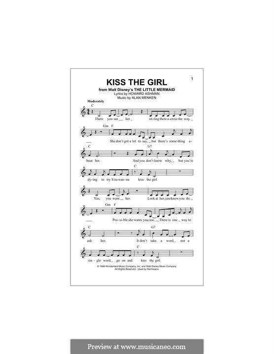 Kiss the Girl (from The Little Mermaid): Melody line by Alan Menken
