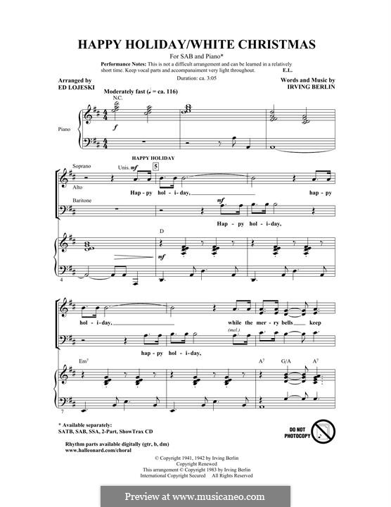 Happy Holiday: For mixed choir by Irving Berlin