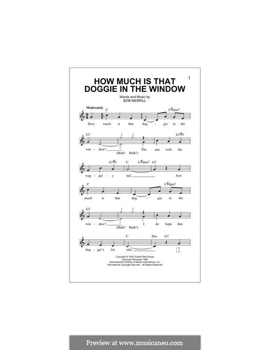 How Much is That Doggie in the Window: Melody line by Bob Merrill