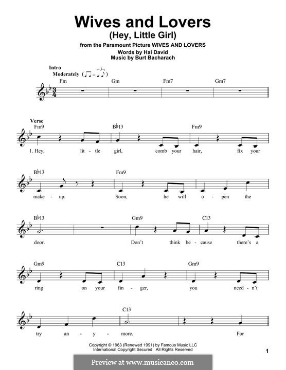 Wives and Lovers (Hey, Little Girl): Melody line by Burt Bacharach