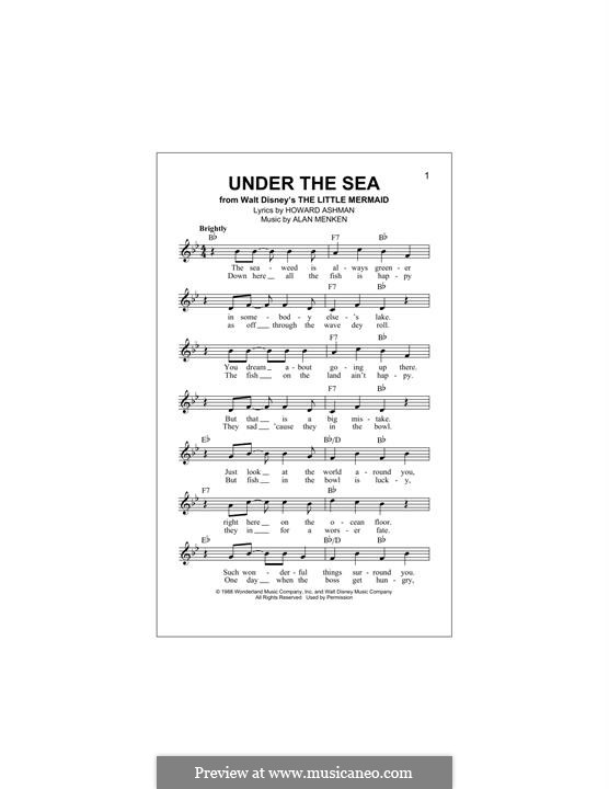Under the Sea (from The Little Mermaid): Melody line by Alan Menken