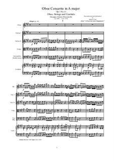 12 concerti e sinphonie, Op.1: Concerto No.11 in A major for oboe, strings and cembalo by Giuseppe Antonio Brescianello