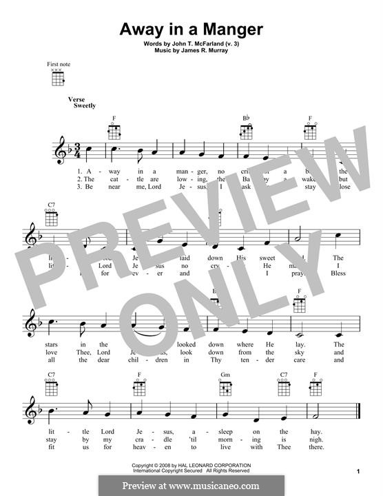 Away in a Manger (Printable Scores): For ukulele by James R. Murray