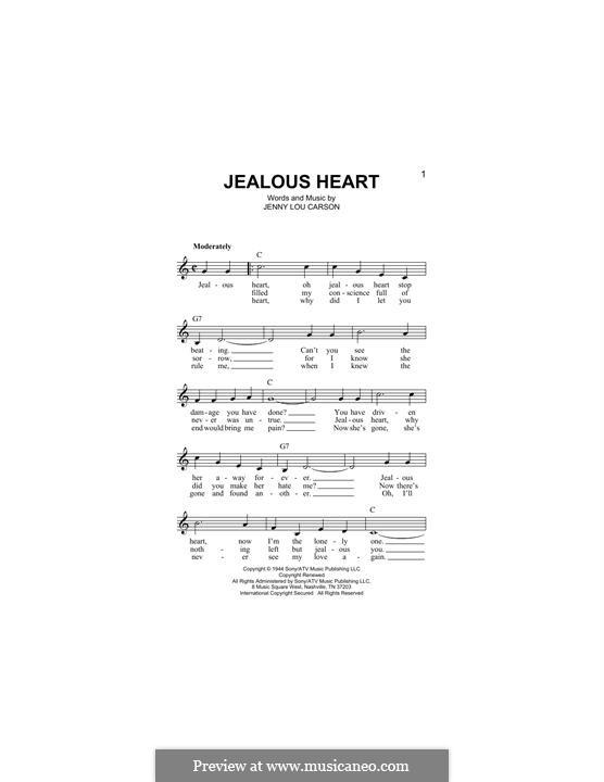Jealous Heart (Tex Ritter): Melody line by Jenny Lou Carson