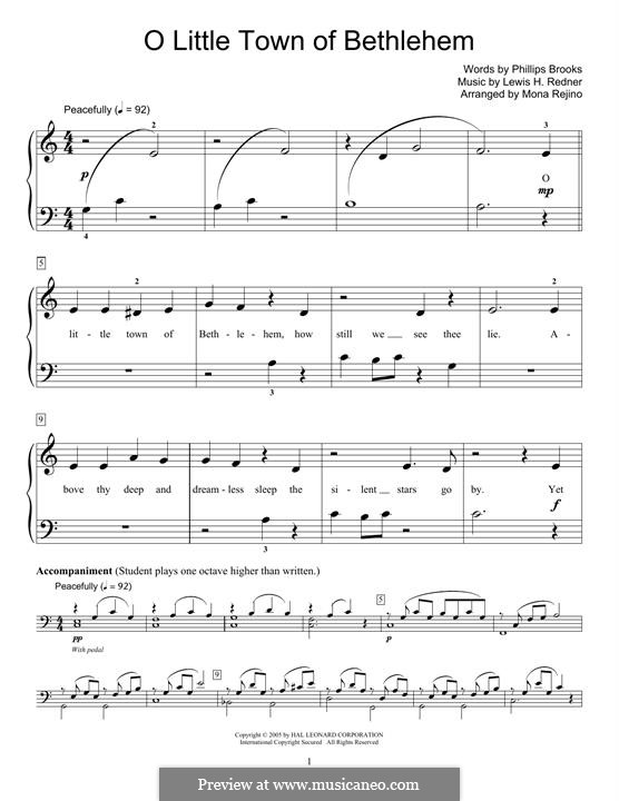 O Little Town of Bethlehem, for Piano: For a single performer by Lewis Henry Redner
