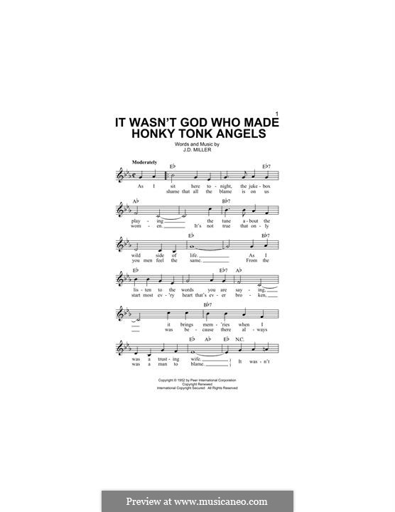 It Wasn't God Who Made Honky Tonk Angels (Patsy Cline): Melody line by J.D. Miller