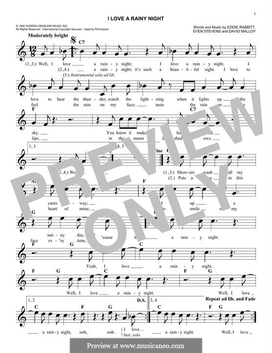 I Love a Rainy Night (Eddie Rabbitt): Melody line by David Malloy, Even Stevens