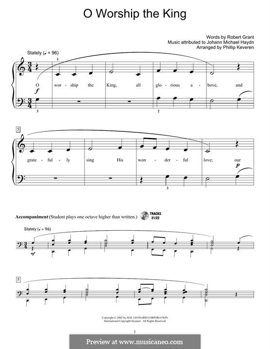 O Worship The King: For easy piano by Michael Haydn
