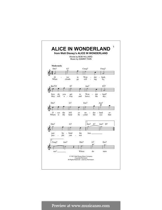 Alice in Wonderland (Bill Evans): Melody line by Bob Hilliard, Sammy Fain