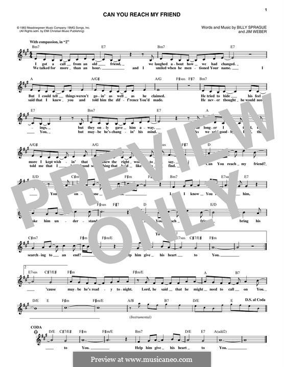 Can You Reach My Friend (Helen Baylor): Melody line by Billy Sprague, Jim Weber