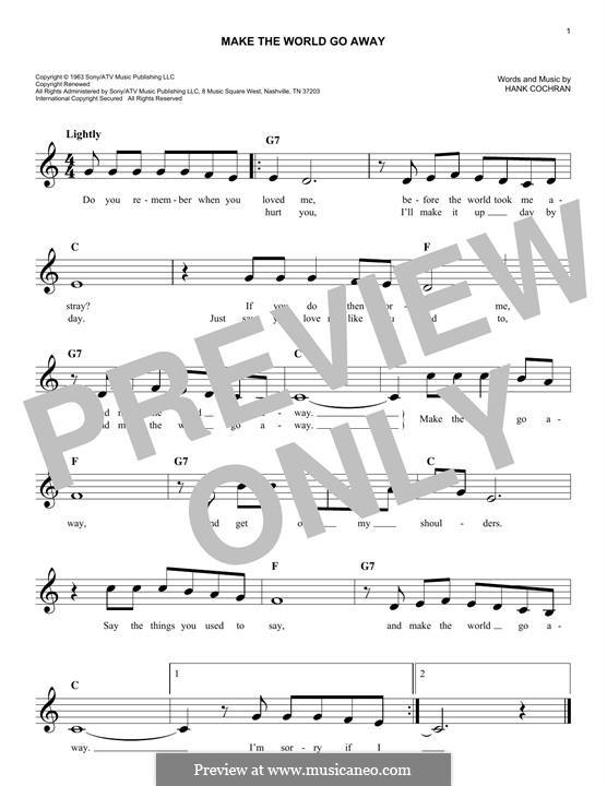 Make the World Go Away (Eddy Arnold): Melody line by Hank Cochran
