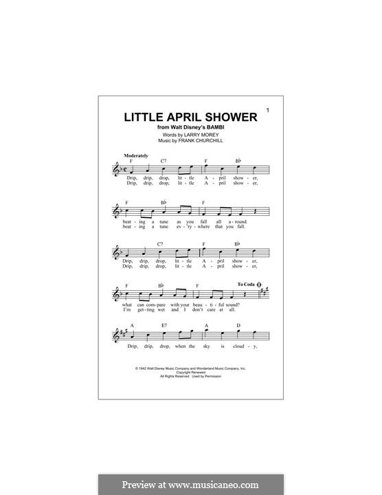Little April Shower (from Bambi): Melody line by Frank Churchill